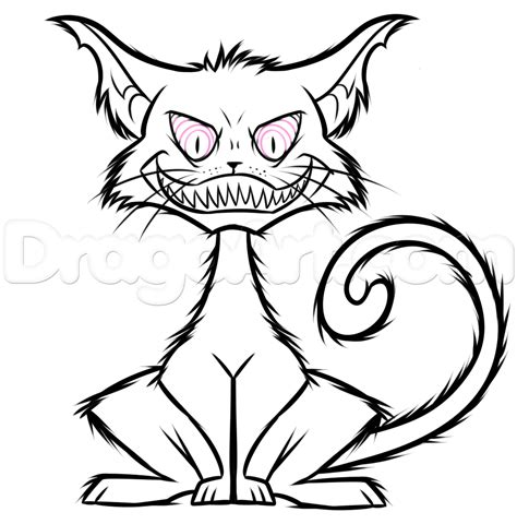 draw  spooky cartoon cat step  step concept