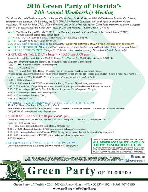 green party floridas annual membership meeting green