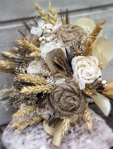 Sparkle And Posy Wheat Burlap And Sola Flower Bouquets