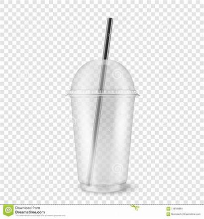 Cup Plastic Straw Vector Clear Empty Realistic
