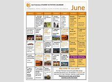 June Social Activity Calendar EC San Francisco English