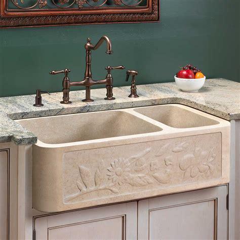 Polished Granite Doublebowl Farmhouse Sink  Chiseled