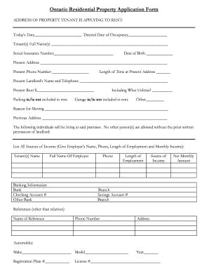 ontario residential application fill printable fillable blank pdffiller