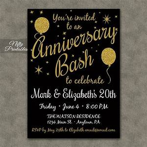 20th anniversary invitations printable black gold 20th With free printable 30th wedding anniversary invitations