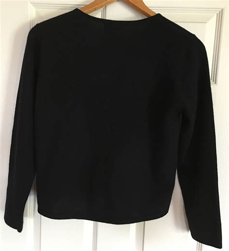 ll bean sweater freeport studio ll bean black cardigan sweater embroidered