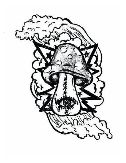 Trippy Mushroom Coloring Pages Drawing Alien Shroom