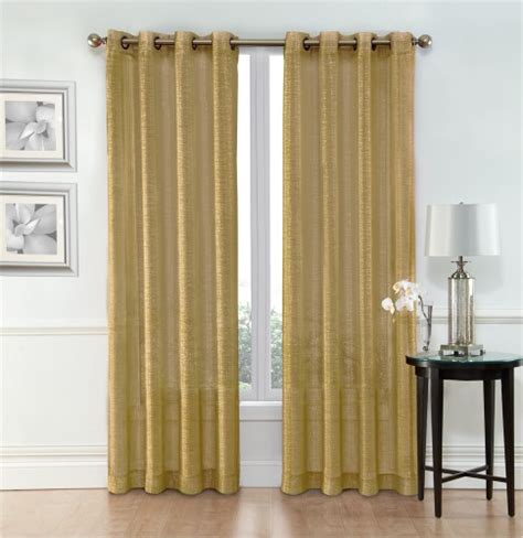 sheer window curtain grommet panels width 54 quot x 84 quot gold