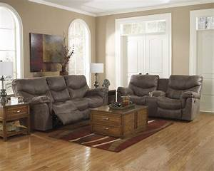 Buy ashley furniture alzena gunsmoke powered reclining for Ashley furniture living room photos
