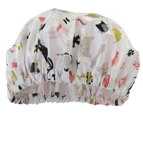 Shoo Shower Cap - shower cap cats print laminated cotton shop