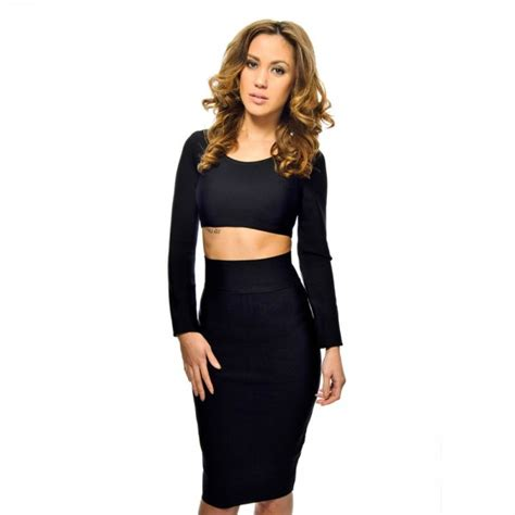 Two Pieces By Domiadream timeless black two bandage dress with sleeves