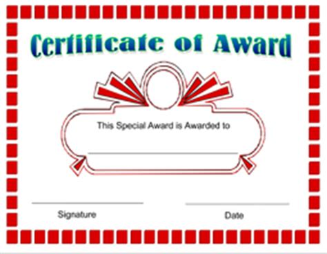 printable award certificate template