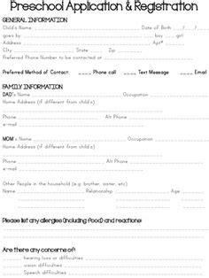 preschool teacher application preschool registration form template teaching ideas 168