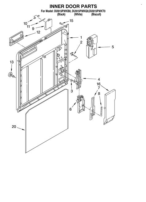 inner door diagram parts list for du915pwkb0 whirlpool parts dishwasher parts
