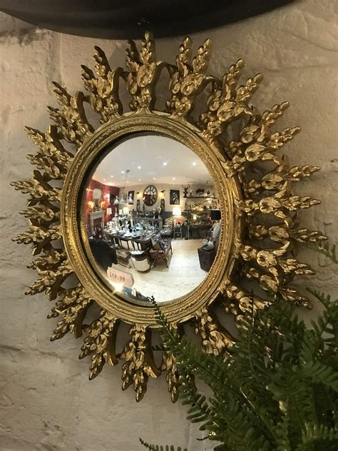 Beautypeak circle mirror gold 36 inch wall mounted round mirror with brushed metal frame for bathroom, vanity, living room, bedroom, entryway wall decor (gold, 36 inches) 4.7 out of 5 stars. Decorative Round Convex Gold Mirror - The Flying Fox