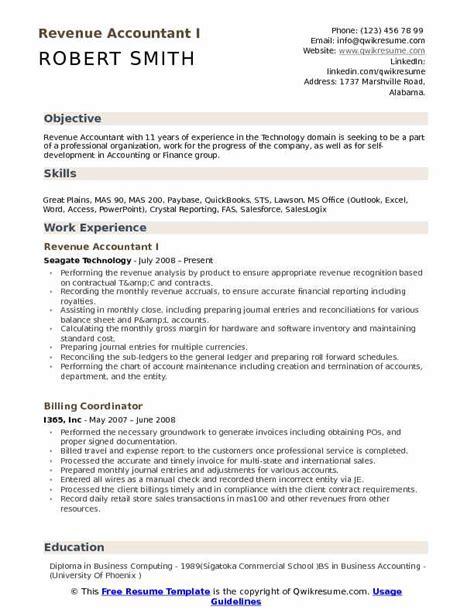 Specimen Of Resume by Revenue Accountant Resume Sles Qwikresume