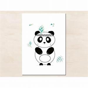 affiche deco panda indien de green and paper tribuzig With affiche chambre bébé avec pot de fleur scandinave