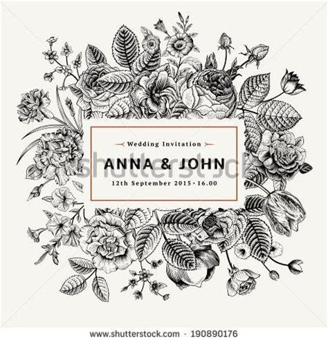 vintage elegant wedding invitation  summer flowers