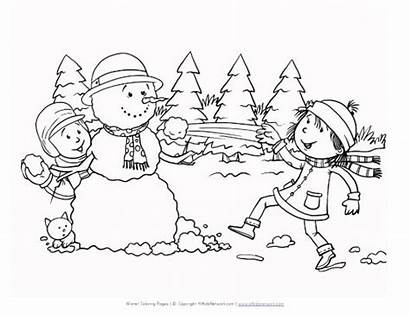 Coloring Winter Pages Scene Printable Season Snowball