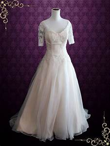 organza lace ball gown wedding dress with short sleeves With short ball gown wedding dresses