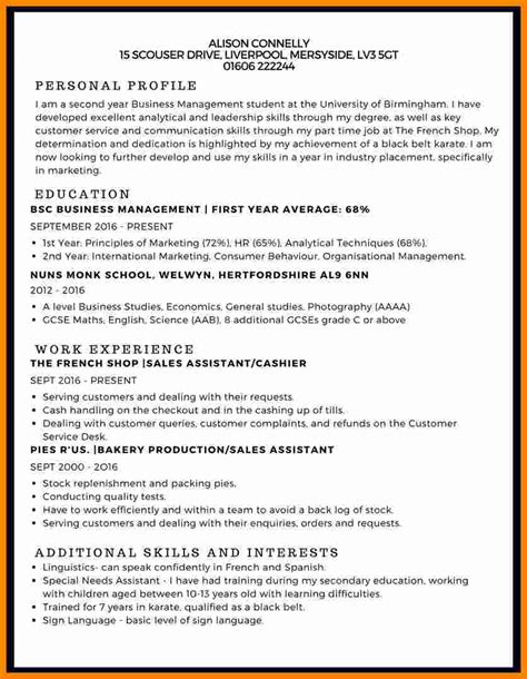 Sles Of A Cv by 9 Curriculum Vitae Exle Student Theorynpractice