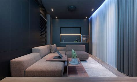 Dark Moody Bachelor Pad Design: 2 Single Bedroom L-Shaped