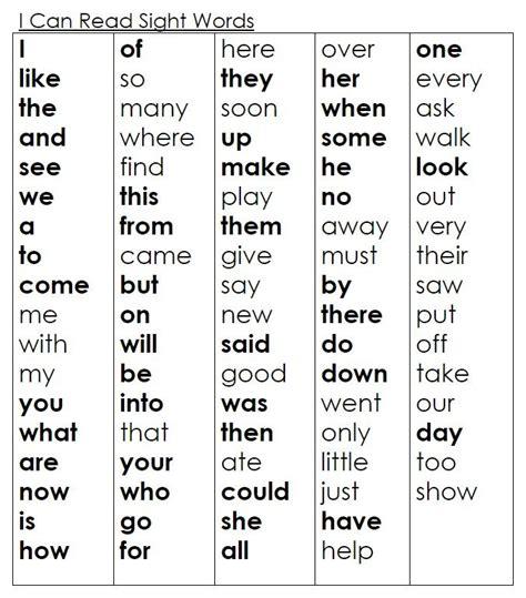 Kindergarten Sight Words  Kinder Academy Website