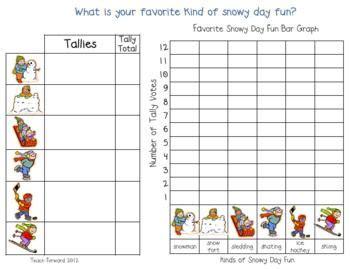 snowy day fun tally graph graphingdata collection snowy day kindergarten math math