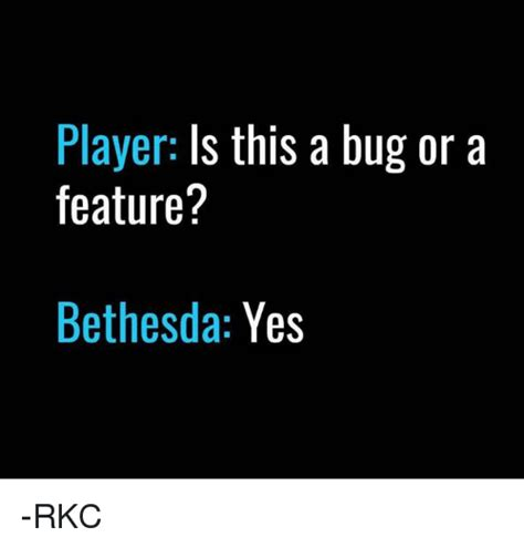Bethesda Memes - player is this a bug or a feature bethesda yes rkc meme on me me