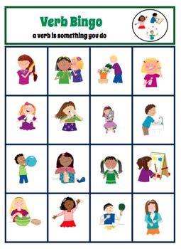 verb bingo   autism helper teachers pay teachers