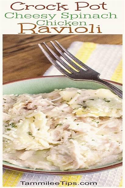 Crock Ravioli Pot Spinach Recipes Crockpot Cheesy