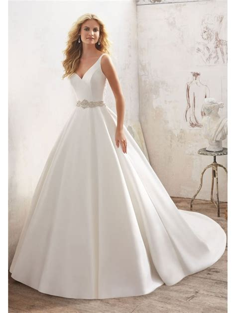 Mori Lee 8123 Maribella Satin Ball Gown With Detailed Back