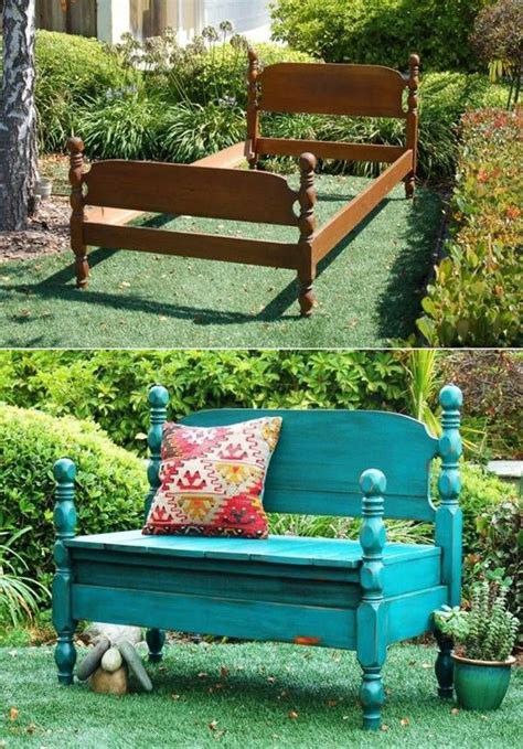 creative ideas  diy projects  repurpose  furniture bed turned  bench diy