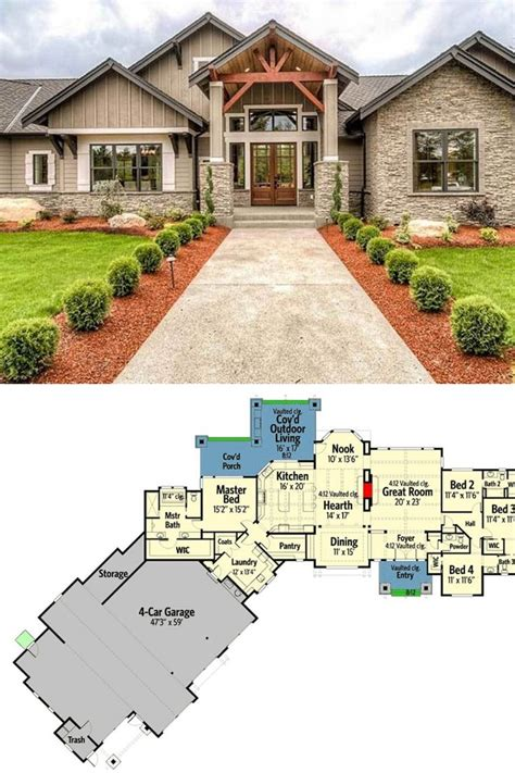 single story  bedroom mountain ranch home  rv garage floor plan craftsman style house