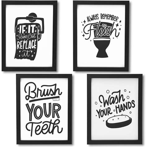 "It features the saying we'll always be best friends because you know too much framed by a zigzag border on the top and bottom. Set of 4 Bathroom Wall Art Prints, Funny Quotes Bathroom Sign Wall Door Decor 8""x10"" Black/White ..."