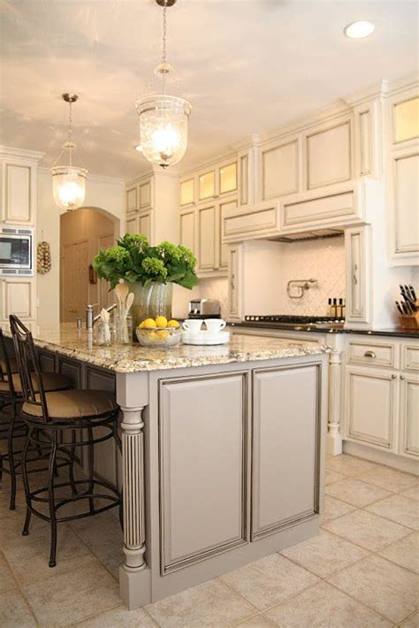 taupegrey island  whitecream cabinets love