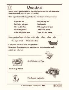 questions worksheet  kindergarten st grade lesson