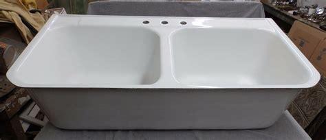 vintage deep double basin cast iron white porcelain