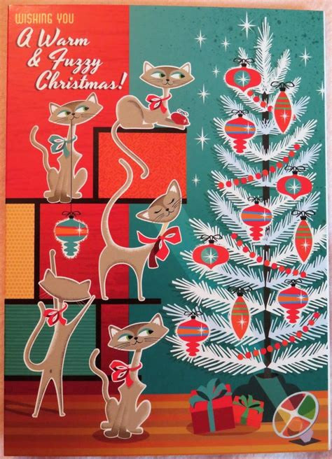 details  vintage style christmas card unused atomic