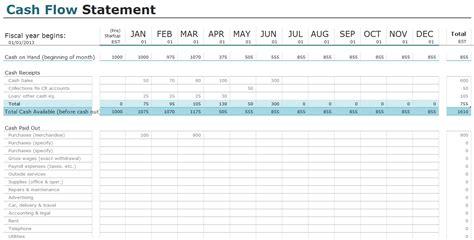 cash flow statement templates  excel invoiceberry