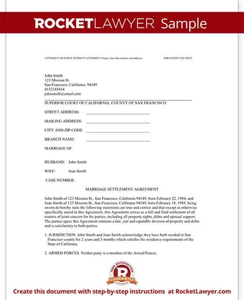 divorce settlement agreement template  sample