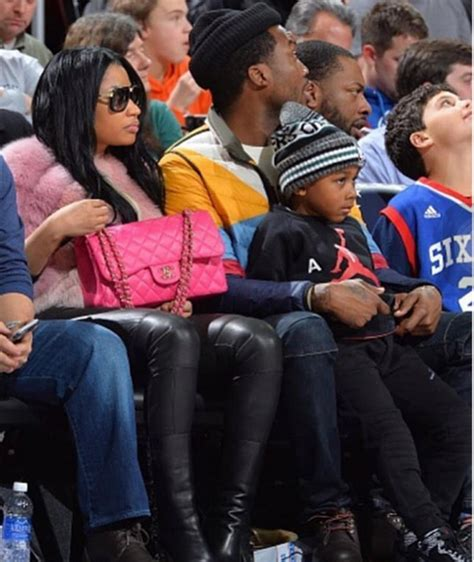 photosnicki minaj joins meek mill  son  basketball
