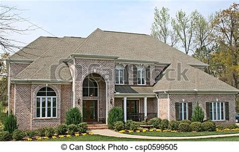 luxury brick house  american upscale community