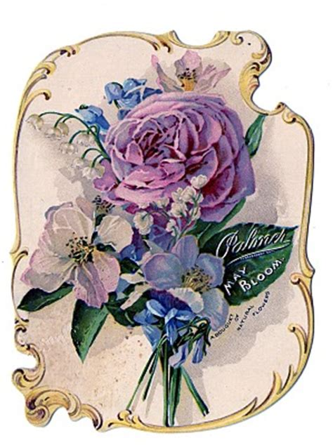 victorian clip art stunning rose bouquet perfume ad