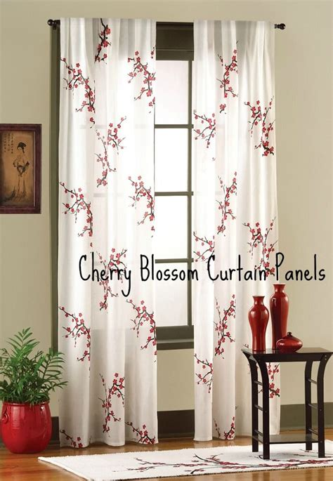 cherry blossom curtain panels bedroom decorating