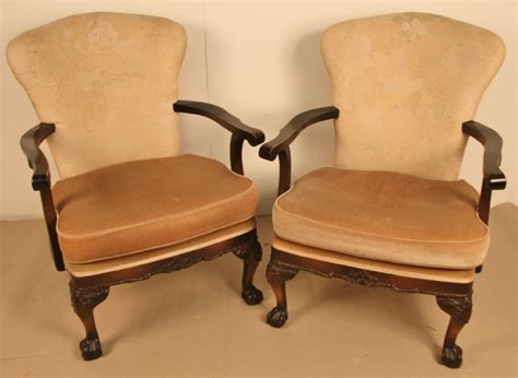 Pair Of Chippendale Style Upholstered Armchairs