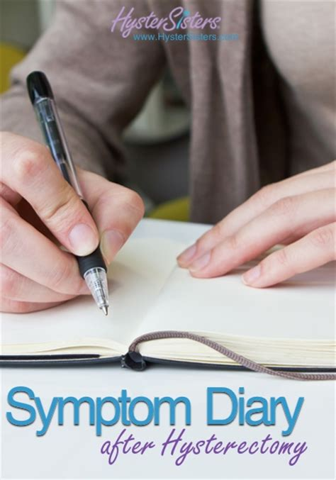 symptom diary after hysterectomy hysterectomy recovery