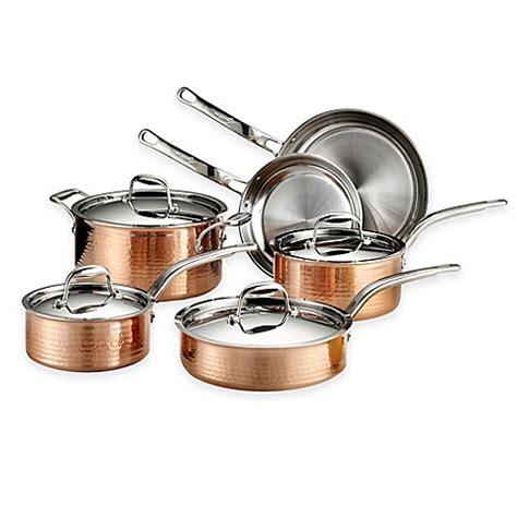 lagostina martellata tri ply copper  piece cookware set  open stock wwwbedbathandbeyondcom