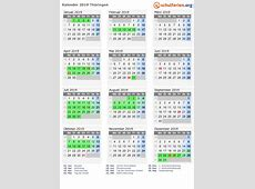 Kalender 2019 + Ferien Thüringen, Feiertage