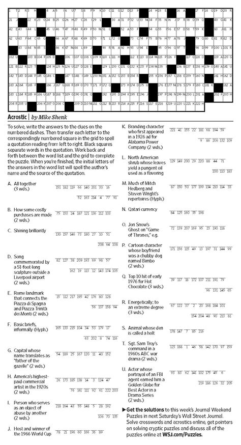 Acrostic (Saturday Puzzle, May 6) - WSJ Puzzles - WSJ