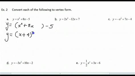 converting between standard form and vertex form youtube